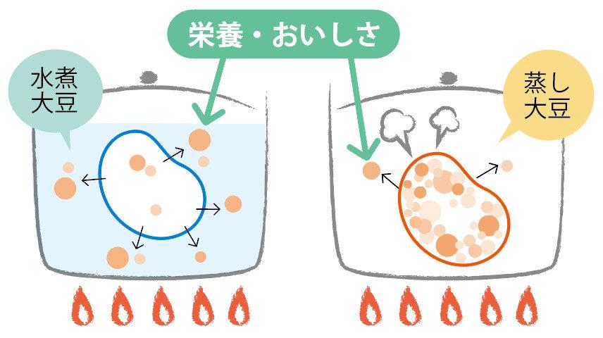 蒸し豆/水煮豆の比較イメージ