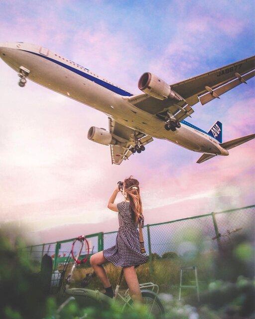 頭のすぐ上を飛行機が通る!「千里川土手」は大迫力フォトスポット