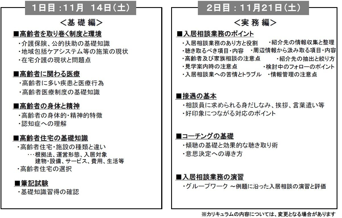 シニア住宅相談員認定研修(ベーシックコース)《大阪》