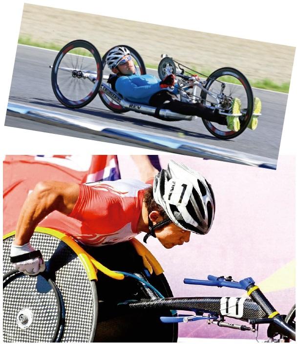 ハンドサイクル(上)、車いすマラソン(下)。特に車いすマラソンでは2012年の ロンドンパラリンピックで5位入賞など輝かしい成績をおさめた花岡さん