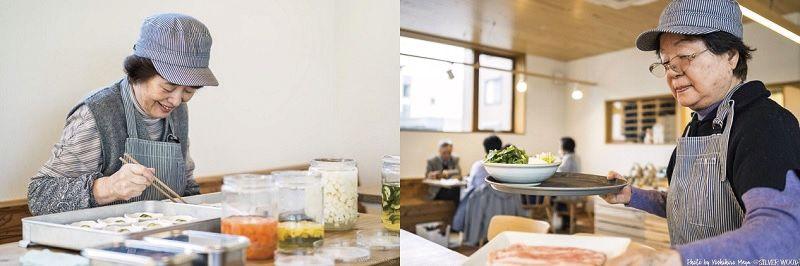レストランで働く女性入居者たち