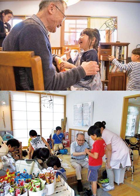 交流スペースで入居者とおしゃべりを楽しむ子供たち
