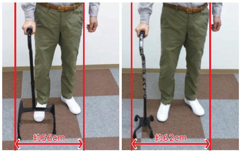 「あゆめーるLight」(写真左)は、従来型4点杖に比べてベースが広がることで、安定を高めながら、実際の使用幅は約56㎝とコンパクト。屋内外の様々な場面で使いやすい