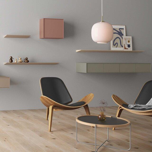 一枚の薄い板だけが浮かび上がるようなデザインの壁付け棚が新登場|sanwacompany