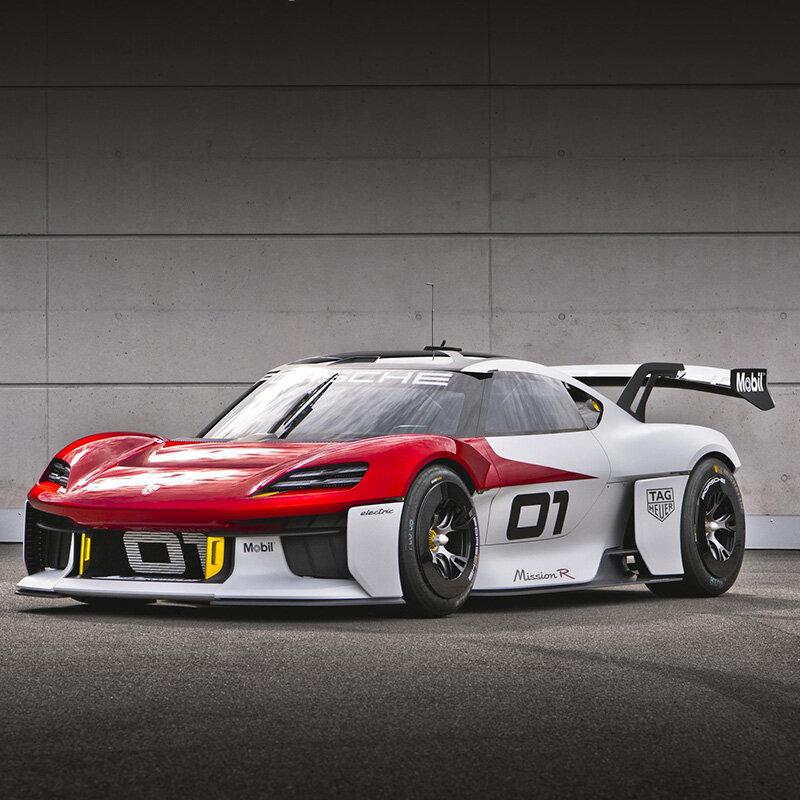 ポルシェ、フル電動モータースポーツのコンセプトモデル「ミッションR」を発表 Porsche