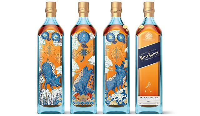 2019年の干支「亥」を描いた数量限定ボトル JOHNNIE WALKER BLUE LABEL