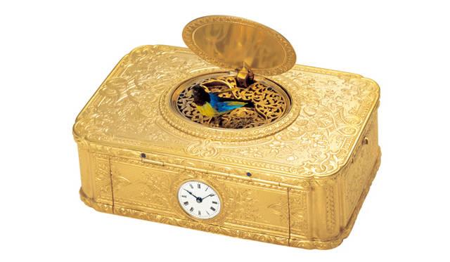 Patek Philippe|小型時計がはめ込まれた小鳥がさえずるオルゴール