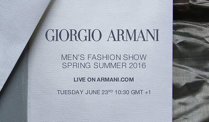 ジョルジオ アルマーニ 2016春夏 メンズコレクションのショーをライブストリーミング GIORGIO ARMANI