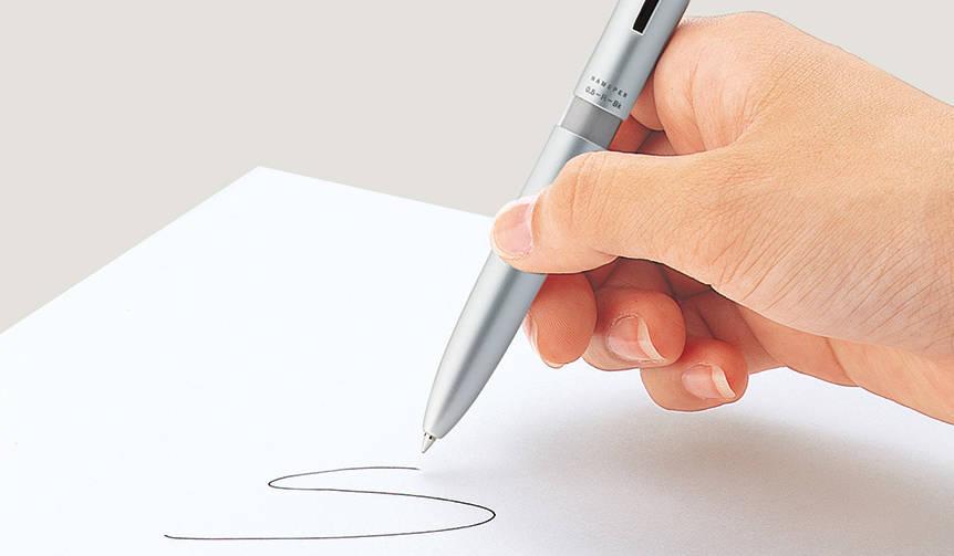 書く、捺すを一本でスピーディーに。ネーム印付き多機能ペン|Shachihata