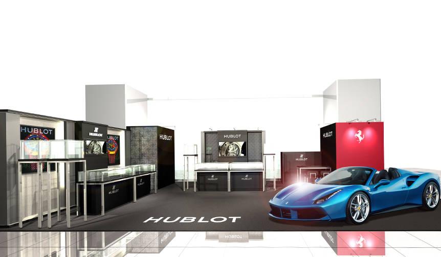 フェラーリが展示されるラグジュアリーなウブロのポップアップブティック|HUBLOT