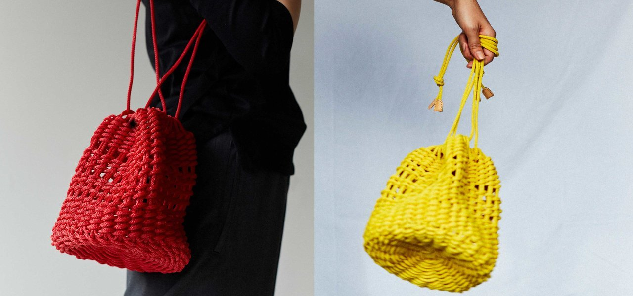 ポリエチレン製の丈夫なロープを編んで作られた巾着型のロープバッグ|fourruof