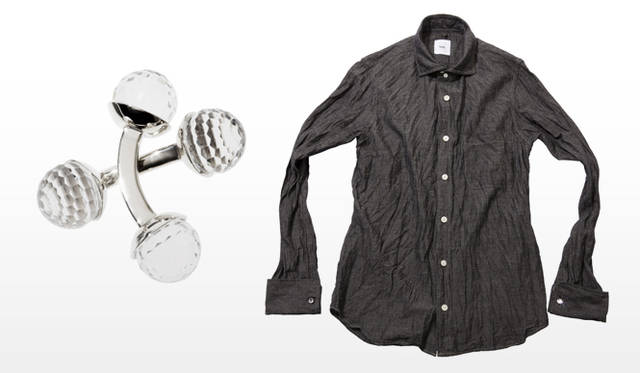 祐真朋樹|CRYSTALLIZED&#8482;-Swarovski Elements</br>ts(s)|BALL CUFFLINKS、 COTTON LINEN CHAMBRAY DOUBLE CUFFS SHIRT