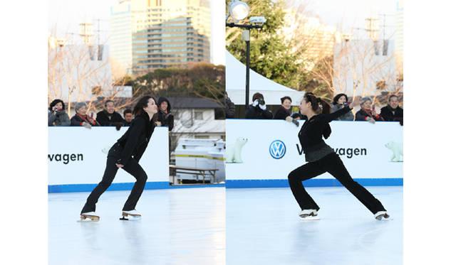 Volkswagen|フォルクスワーゲン 「フォルクスワーゲン スケートリンク in 東京ミッドタウン」オープニングセレモニー 左:荒川静香、右:浅田舞
