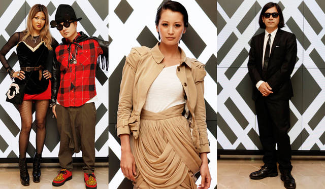 <b>BURBERRY|『バーバリー銀座マロニエ通り』</b> 左から、DJ/ミュージシャンのVERBALさんとグラフィックデザイナーのYOONさん、モデルの黒木エイミさん、ファッションディレクターの祐真朋樹さん。