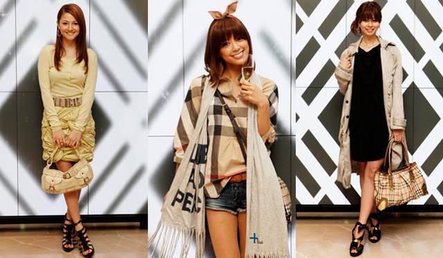<b>BURBERRY|『バーバリー銀座マロニエ通り』</b> 左から、モデルの橋本麗香さん、女優の松本莉緒さん、モデルのエレナさん。