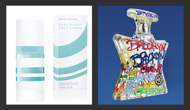 <strong>第1回 日本フレグランス大賞</strong> マスコミ・香水専門家などによる審査 香水部門(メンズ)ラグジュリー(流通規模50店舗以下)<br>左/メンズ大賞 「イッセイ ミヤケ ロードゥ イッセイ プールオム サマーフレグランス」<br>夏の日を想起させる、生彩溢れるフルーティーな香りが特徴で、魅力的なボトルは遥かなるクルーズの旅をイメージ。<br>価格・容量 7350円(125mL) フィッツコーポレーション マーケティング部 Tel. 03-5772-1070<br>右/メンズ デザイン賞 「ボンド・ナンバーナイン ブルックリン オードパルファム」<br>芸術を志す多くの若者を魅了する最先端の街「ブルックリン」を、マスキュリンでユニセックスな香りで表現。<br>価格・容量 2万1000円(50mL)、3万450円(100mL) ブルーベル・ジャパン Tel. 03-5413-1070