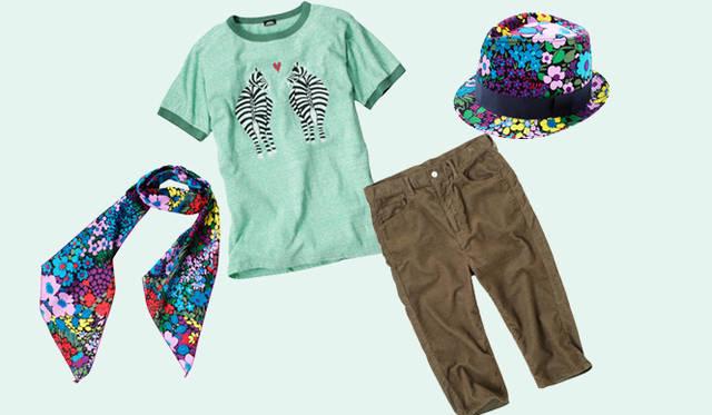 <strong>BOHEMIANS|ボヘミアンズ</strong> ゼブラプリントのTシャツをポイントに、ナチュラルな配色・組み合わせを意識したコーディネイトは足もとをサンダルにすることでリゾート感のある仕上がりに。
