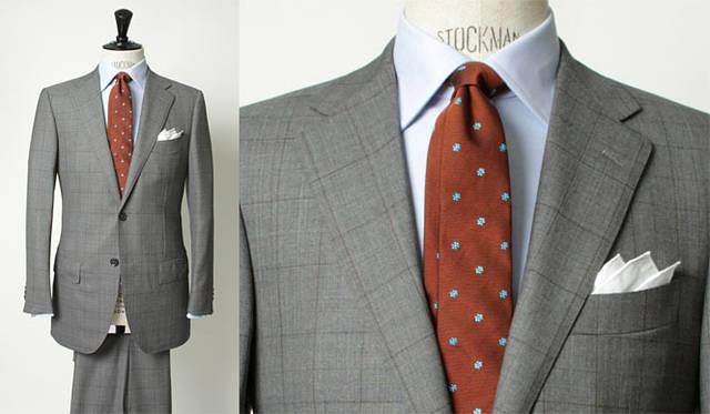 <strong>united arrows green label relaxing グリーンレーベル リラクシング</strong> 「REDA×グリーンレーベル リラクシング」のエクスクルーシブ「VALLEMOSSO」シリーズ<br>クラシックな印象のウィンドウペン柄のスーツは、ラペル幅もクラシックな8.5センチに設定。着丈もやや長めに設定している。スーツ3万9900円(ジャケット2万7300円、トラウザーズ1万2600円)、シャツ8925円、チーフ2940円(すべてグリーンレーベル リラクシング)、ネクタイ7980円(アンジェロ ディ コモ)