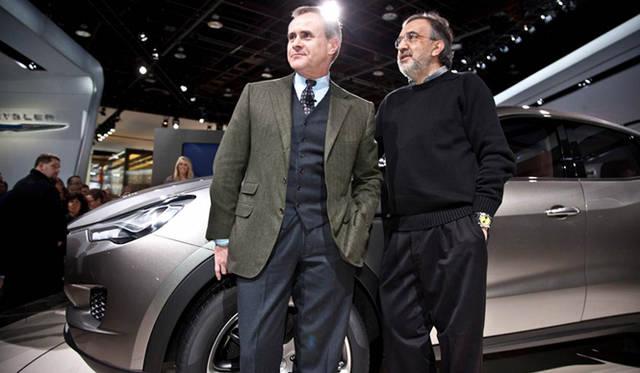 <strong>Maserati Kubang|マセラティ クーバン</strong> マセラティのCEO ハラルド・ウェスター氏(左)とフィアットCEO兼マセラティ社長 セルジオ・マルキオンネ氏(右)