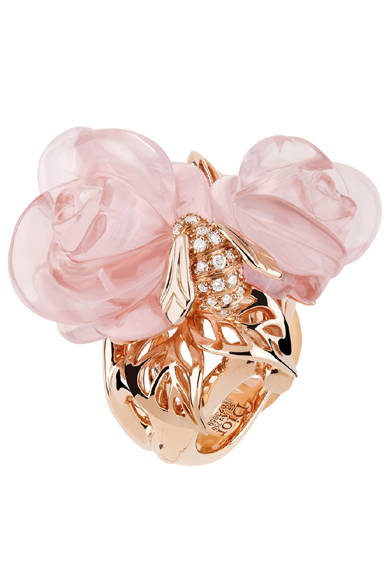 <strong>Dior fine jewelry|ディオール ファイン ジュエリー</strong> 「La Rose Dior Pr&eacute; Catelan(ローズ ディオール プレ カトラン)」 リング [PG×ダイヤモンド×ピンククォーツ] 173万2500円 *2012年3月発売予定<br /><br />クリスチャン ディオール<br />Tel. 03-3263-2266