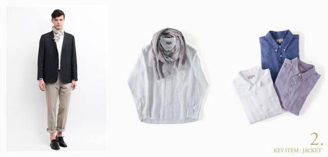 <strong>MARGARET HOWELL|マーガレット・ハウエル</strong> モデル/ジャケット6万1950円、シャツ3万450円、スカーフ1万9950円、トラウザーズ3万4650円、シューズ8万2950円(すべてマーガレット・ハウエル)、中/春らしいリネンのシャツに、ふんわりとスカーフを合わせて、モダンな着こなしに。シャツ3万450円、スカーフ1万9950円(ともにマーガレット・ハウエル)、右/今年のキーカラーとなるブルーをリネンシャツで着こなそう。定番の白、グラデーションの着こなしで楽しみたいパープルもラインナップ。シャツ各3万450円(マーガレット・ハウエル)