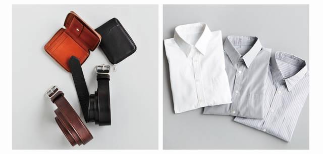 2012-13秋冬コレクション 左/スーツスタイルはもちろん、ジャケット着用時でも必須のスマートな小物たち。ウォレットは外側に電子カードなどを収納できるパスケース付き。全体はすっきりコンパクトな大きさが魅力だ。ベルトも英国製で、ドレスにもカジュアルにも使える色、素材、太さがラインナップ。色を合わせるとより効果的。ウォレット各3万450円、ベルト各1万6800円(ともにマーガレット・ハウエル)、右/ドレス傾向が強まってくる今年の秋冬は、あたらしいシャツがマストアイテム。とくに襟型の変化がトレンドをリードして、このシャツのように、すっきりとドレススタイルにフィットするシャツは必携だ。マーガレット・ハウエルがヨーロッパのシャツ専門サプライヤーの生地で仕立てたシャツは、ファインな素材で、ノータイでもドレス感あふれる襟が魅力。白シャツ2万7300円、ストライプシャツ各3万450円(ともにマーガレット・ハウエル)