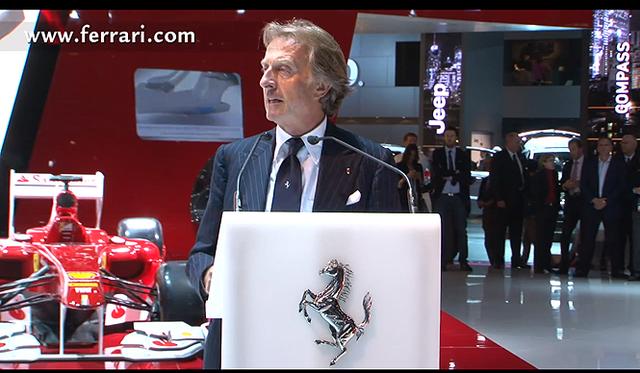 <br />ルカ・ディ・モンテゼーモロ会長のスピーチで幕をあげたフェラーリのパリモーターショー