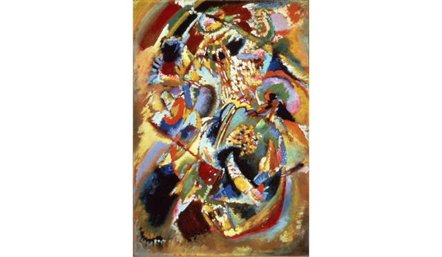 ワシリー・カンディンスキー《「E.R.キャンベルのための壁画No.4」の習作(カーニバル・冬)》 1914年 宮城県美術館蔵