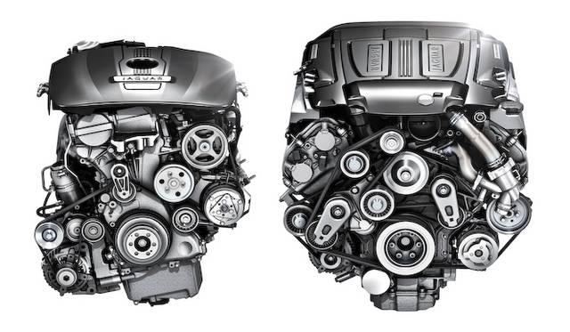 <strong>Jaguar XJ|ジャガー XJ</strong><br />2リッター4直列気筒ターボエンジン(左)と、3リッターV型6気筒スーパーチャージャーエンジン(右)