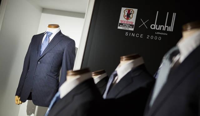 会場内では、2004年から2013年までの10年間、ダンヒルが手がけてきた歴代の日本代表オフィシャルスーツが展示された