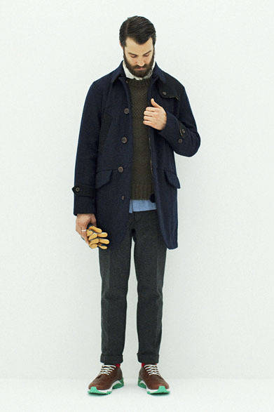 "<strong>so far|ソー ファー</strong> <a href=""/article/17469"" class=""link12lh15blue"">2013-14年秋冬コレクション</a> Field Coat 7万3500円、Nep Chambray Shirts 2万5200円、Rum Wool Knit P/O 2万7300円、Melton Trousers Pants 3万5700円"