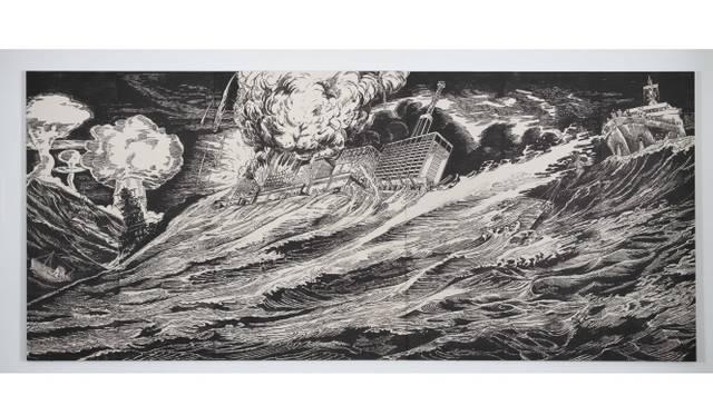 <strong>ART|『六本木クロッシング2013展:アウト・オブ・ダウト-来たるべき風景のために』</strong> 風間サチコ《噫(ああ)!怒涛の閉塞艦》2012年 木版画(パネル、和紙、墨) 181×418 cm 撮影:宮島 径 Courtesy: Mujin-to Production, Tokyo