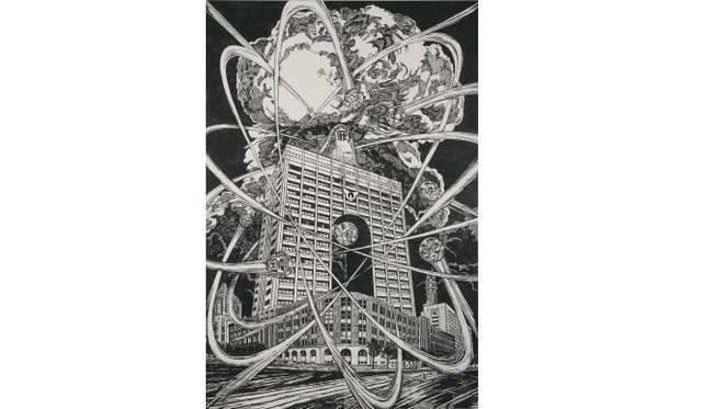 <strong>ART|『六本木クロッシング2013展:アウト・オブ・ダウト-来たるべき風景のために』</strong> 風間サチコ《獄門核分裂235》 2012年 木版画(パネル、和紙、墨)181×120 cm 撮影:宮島 径 Courtesy: Mujin-to Production, Tokyo