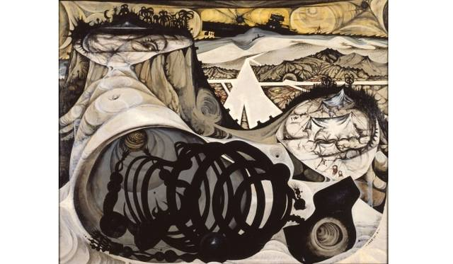 <strong>ART|『六本木クロッシング2013展:アウト・オブ・ダウト-来たるべき風景のために』</strong> 中村 宏《島[旧題《沖縄島》]》 1956年 油彩、カンヴァス 130×162 cm 浜松市美術館蔵