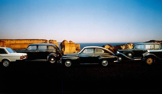ボルボの安全神話を生み出した往年の名車たち。Volvo 240, 832, 544, 654, OV4(左から順に)