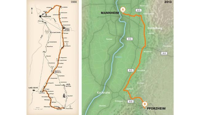 ドイツのマンハイムからプフォルツハイムまでの全長約100kmに渡るテストルートは、いまから125年前、メルセデス・ベンツ創業者であるカール・ベンツの妻ベルタ・ベンツが「世界初の長距離自動車ドライブ」を敢行した際と同一のルートだった