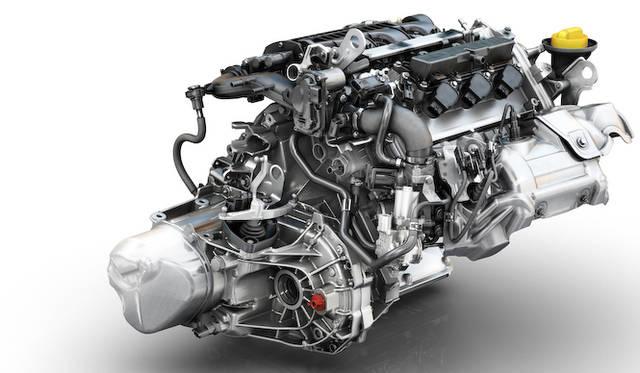 898cc直列3気筒ターボで最高出力90ps、最大トルク135Nmを誇る「Energy TCe 90」。スペース効率を高めるため、49度傾けられている