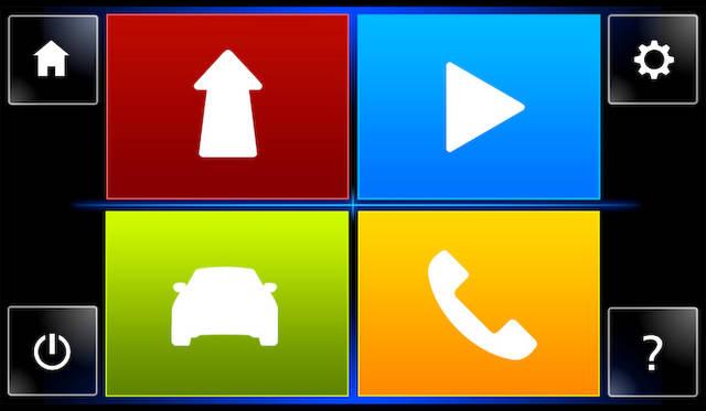 インフォテイメントシステム「R&GO」でメインメニュー。ナビ、メディアプレイヤー、車両情報、電話の4つのおおきなメニューで構成される