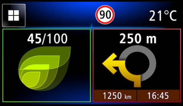 インフォテイメントシステム「R&GO」でのホーム画面。ナビゲーションや各種警告が表示される。左はエコメーター