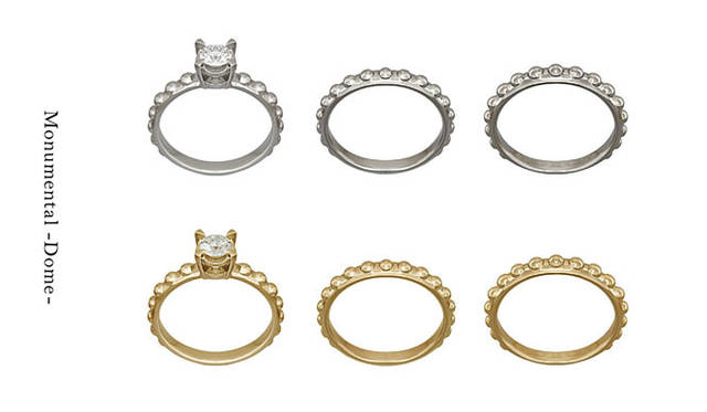 「Monumental –Dome-(モニュメンタル ドーム)」 Engagement Ring Dome(地金 Pt950・ダイヤモンド 0.30ct から)34万8000円~、Wedding Ring Dome N(地金 Pt950・幅 約2.7mm #5~#22)13万円、Wedding Ring Dome W(地金 Pt950・幅 約3.1mm #5~#22)17万円 ※すべて税抜価格