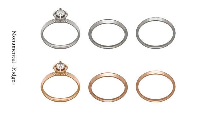 「Monumental –Ridge-(モニュメンタル リッジ)」 Engagement Ring Ridge(地金 Pt950・ダイヤモンド 0.30ct から)32万3000円~、Wedding Ring Ridge N(地金 Pt950・幅 約2.4mm #5~#22)10万円、Wedding Ring Ridge W(地金 Pt950・幅 約2.9mm #5~#22)12万8000円 ※すべて税抜価格