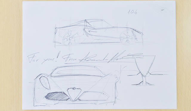 インタビューのあいだ、マッコリーニ氏が説明のために描いてくれたラフスケッチ