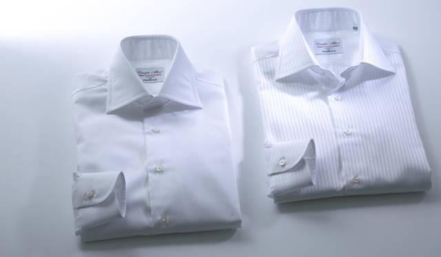 左から、ピンオックスフォードシャツ1万4040円、ドビーストライプシャツ1万4040円(ともにフェアファクス)