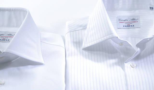 通常のオックスフォードより目の詰まったピンオックスフォード生地は、ラグジュアリーかつアクティブな表情をあわせもつ。ドビー織りで表現されたストライプは、色気のある光沢とともに、トラディショナルな男性像を生み出す。これらのファブリックはともに、イタリア3大生地メーカーのひとつ「アルビニ」社に製作を依頼したもの