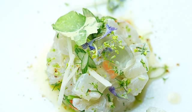 試作メニュー。長崎産の新鮮なスズキを使った「五島列島スズキのタルタル」。味付けは塩、良質なオリーブオイル、香り高いハーブ有機レモンと、とてもシンプル。「ピルエット」の素材へのこだわりが垣間見れる一皿だ