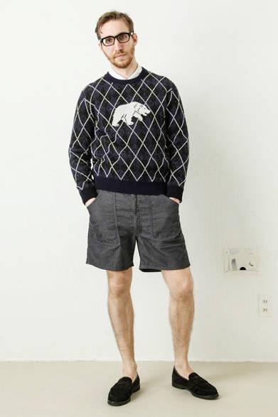 argyle with polar bear jacquard pullover 2万1600円