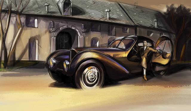 """創設者エットーレ・ブガッティの長男で、すぐれたエンジニアだった「ジャン・ブガッティ」が1937年にデザインした「T57SCクーペ・アトランティク」。ブガッティの""""レジェンド""""シリーズの2号車、「ジャン・ブガッティ」は、このクルマのカラースキームと、内装をモチーフとして採用した"""