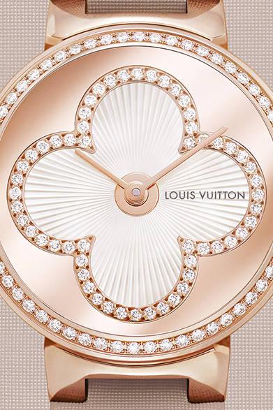 自動巻き、18KPGケース、ダイヤモンド、MOP、ヌードサテンストラップ、ケース径35mm、414万7200円<br /><br />  ルイ・ヴィトン カスタマーサービス<br /> Tel. 0120-00-1854