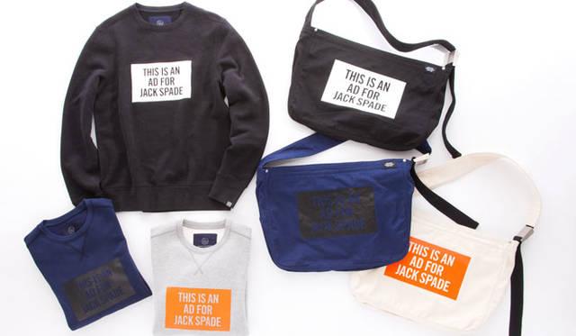 「JACK SPADE for BEAUTY&YOUTH」スウェット各1万6200円、バッグ各1万1880円