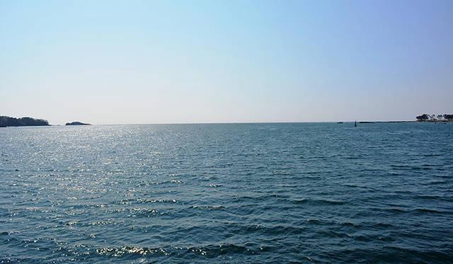 およそ1時間の乗船は気仙沼湾の入り口まで進んだ。風は冷たいがおだやかな水平線を見ながら4年前に思いをはせた
